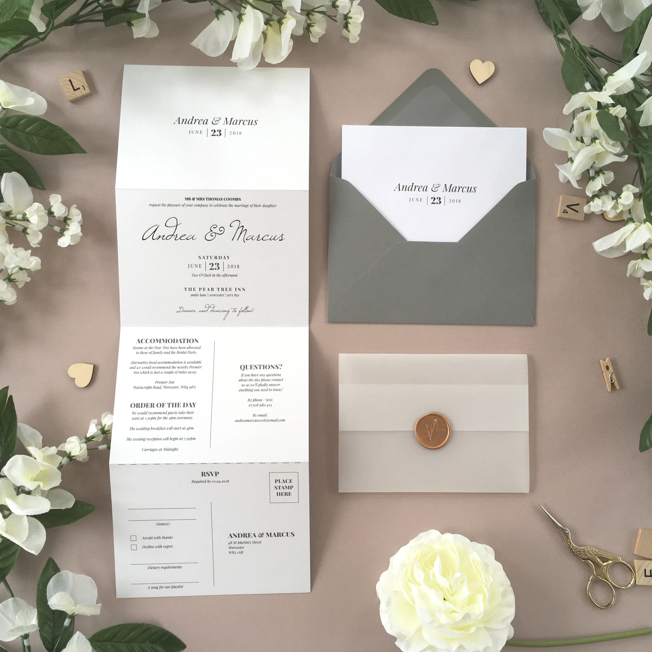Knightsbridge - Shown in an elegant greyscale scheme, this classically-styled concertina wedding invitation comes from our traditional Knightsbridge collection.Our concertina invitations are a great all-in-one solution, with a detachable RSVP at the bottom of the invitation - all guests need to do is fill in their details, put a stamp in the corner and post!Concertina invitations can be provided on an as-is basis, or can be provided bound with a vellum jacket and timeless wax seal, or tied with ribbon or twine for a lovely hand-finished approach.- Concertina Invitation - from £1.95- Ribbon or Twine - £0.40- Vellum Jacket - £0.40- Wax Seal - £0.85 (Custom engraving also available)White envelope provided as standard with coloured upgrade available.