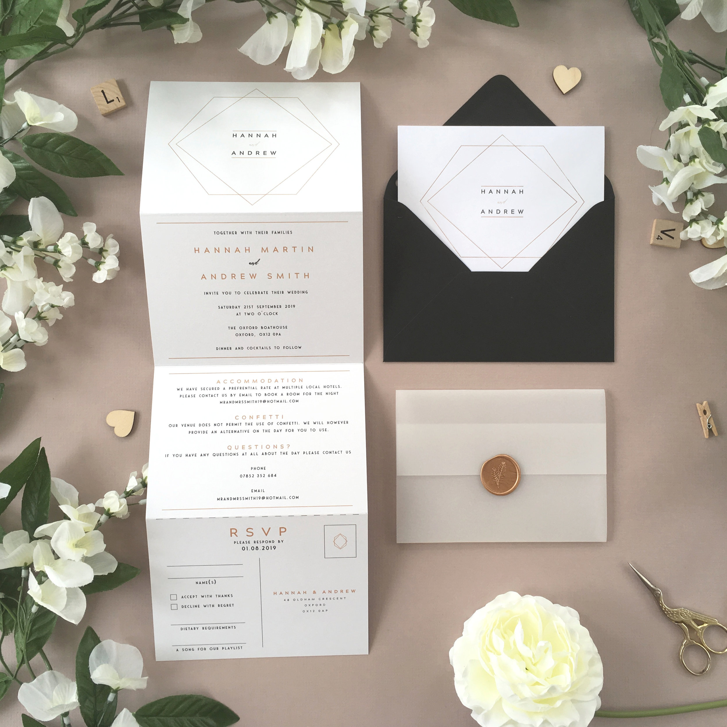 Mayfair - A simple and minimalist style is used with our Mayfair collection, using geometric styling alongside modern typography on this concertina invitation.Our concertina invitations are a great all-in-one solution, with a detachable RSVP at the bottom of the invitation - all guests need to do is fill in their details, put a stamp in the corner and post!Concertina invitations can be provided on an as-is basis, or can be provided bound with a vellum jacket and timeless wax seal, or tied with ribbon or twine for a lovely hand-finished approach.- Concertina Invitation - from £1.95- Ribbon or Twine - £0.40- Vellum Jacket - £0.40- Wax Seal - £0.85 (Custom engraving also available)White envelope provided as standard with coloured upgrade available.