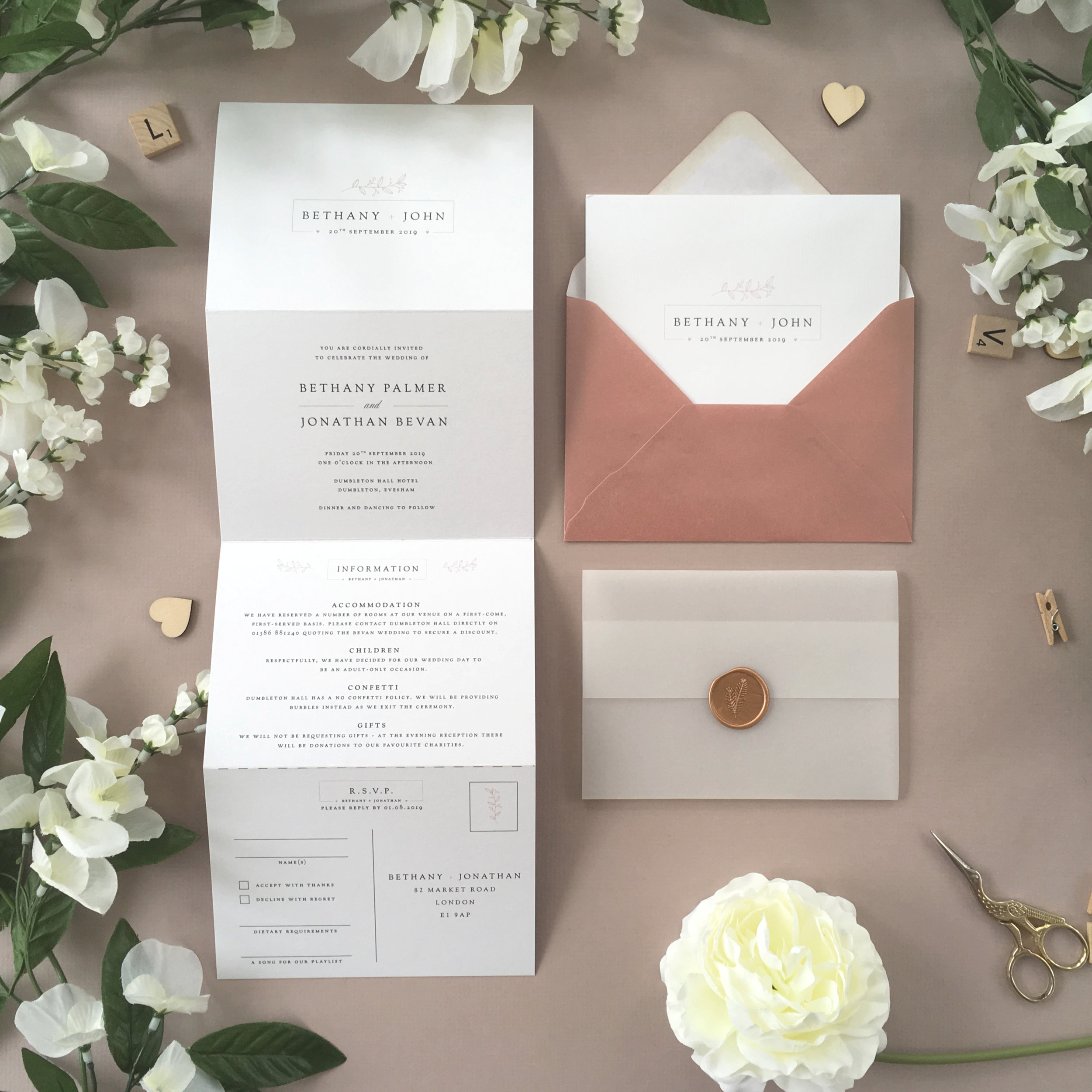 Newbury - Simple and subtle florals are used alongside traditional typography for a classical and elegant concertina invitation design, from our Newbury collection.Our concertina invitations are a great all-in-one solution, with a detachable RSVP at the bottom of the invitation - all guests need to do is fill in their details, put a stamp in the corner and post!Concertina invitations can be provided on an as-is basis, or can be provided bound with a vellum jacket and timeless wax seal, or tied with ribbon or twine for a lovely hand-finished approach.- Concertina Invitation - from £1.95- Ribbon or Twine - £0.40- Vellum Jacket - £0.40- Wax Seal - £0.85 (Custom engraving also available)White envelope provided as standard with coloured upgrade available.