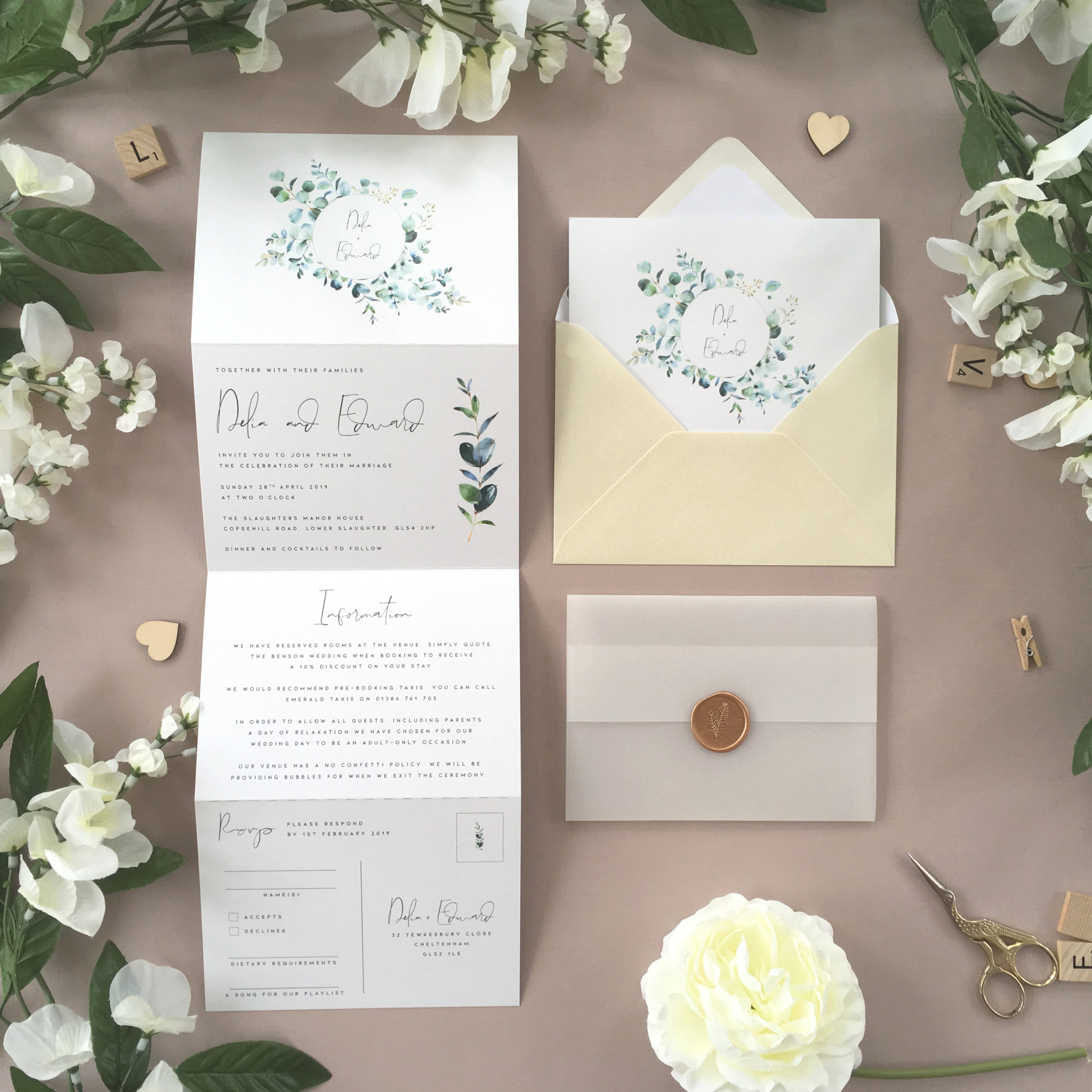Northwood - Beautiful eucalyptus foliage is used alongside a handwritten script with this botanical-inspired concertina wedding invitation, from our modern and stylish Northwood collection.Our concertina invitations are a great all-in-one solution, with a detachable RSVP at the bottom of the invitation - all guests need to do is fill in their details, put a stamp in the corner and post!Concertina invitations can be provided on an as-is basis, or can be provided bound with a vellum jacket and timeless wax seal, or tied with ribbon or twine for a lovely hand-finished approach.- Concertina Invitation - from £1.95- Ribbon or Twine - £0.40- Vellum Jacket - £0.40- Wax Seal - £0.85 (Custom engraving also available)White envelope provided as standard with coloured upgrade available.
