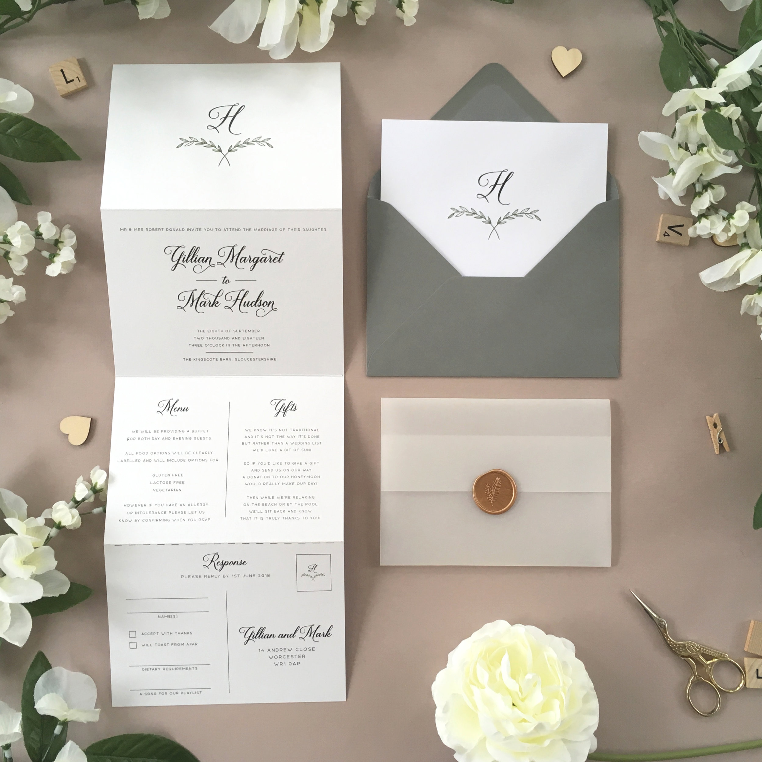 Paddington - Our Paddington collection uses a traditional, elegant style, using a monogram of the to-be-weds' surname on this concertina wedding invitation (which can be replaced with initials if required!).Our concertina invitations are a great all-in-one solution, with a detachable RSVP at the bottom of the invitation - all guests need to do is fill in their details, put a stamp in the corner and post!Concertina invitations can be provided on an as-is basis, or can be provided bound with a vellum jacket and timeless wax seal, or tied with ribbon or twine for a lovely hand-finished approach.- Concertina Invitation - from £1.95- Ribbon or Twine - £0.40- Vellum Jacket - £0.40- Wax Seal - £0.85 (Custom engraving also available)White envelope provided as standard with coloured upgrade available.