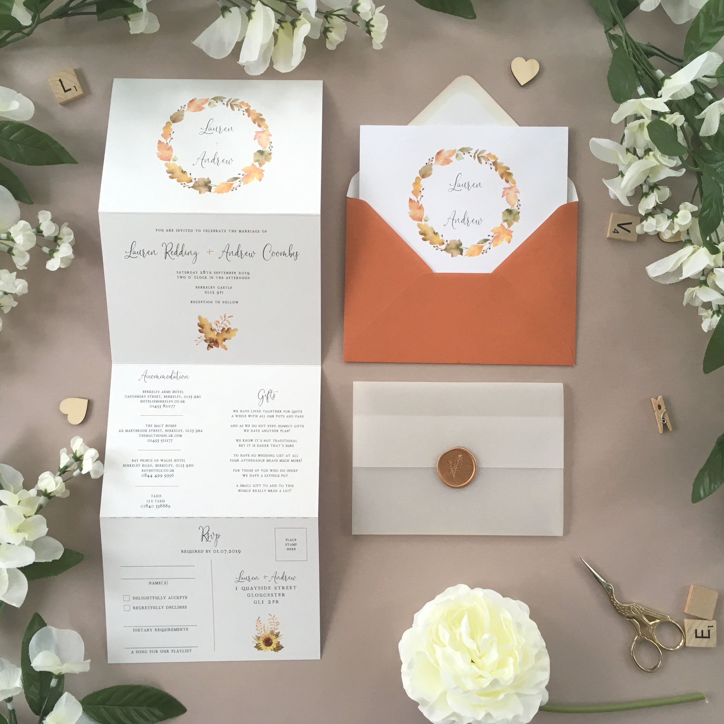 Richmond - Perfect for an autumn wedding day, our Richmond collection uses subtle oak leaves and autumnal artwork on this pretty concertina wedding invitation.Our concertina invitations are a great all-in-one solution, with a detachable RSVP at the bottom of the invitation - all guests need to do is fill in their details, put a stamp in the corner and post!Concertina invitations can be provided on an as-is basis, or can be provided bound with a vellum jacket and timeless wax seal, or tied with ribbon or twine for a lovely hand-finished approach.- Concertina Invitation - from £1.95- Ribbon or Twine - £0.40- Vellum Jacket - £0.40- Wax Seal - £0.85 (Custom engraving also available)White envelope provided as standard with coloured upgrade available.