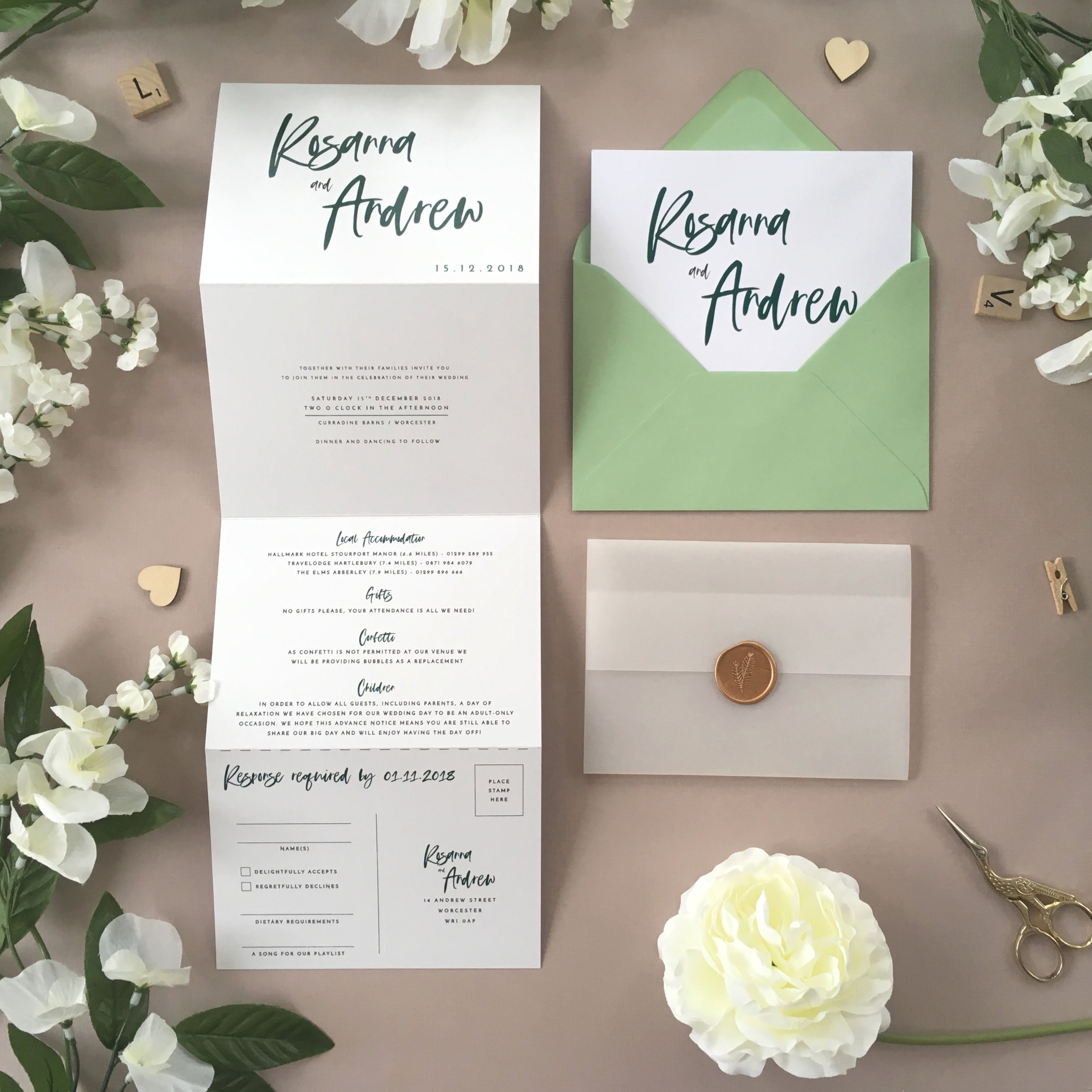 Soho - Ideally-suited to bold colours, our striking Soho collection looks great in the concertina format and, whilst shown in a deep green scheme, can easily be tailored to another scheme.Our concertina invitations are a great all-in-one solution, with a detachable RSVP at the bottom of the invitation - all guests need to do is fill in their details, put a stamp in the corner and post!Concertina invitations can be provided on an as-is basis, or can be provided bound with a vellum jacket and timeless wax seal, or tied with ribbon or twine for a lovely hand-finished approach.- Concertina Invitation - from £1.95- Ribbon or Twine - £0.40- Vellum Jacket - £0.40- Wax Seal - £0.85 (Custom engraving also available)White envelope provided as standard with coloured upgrade available.