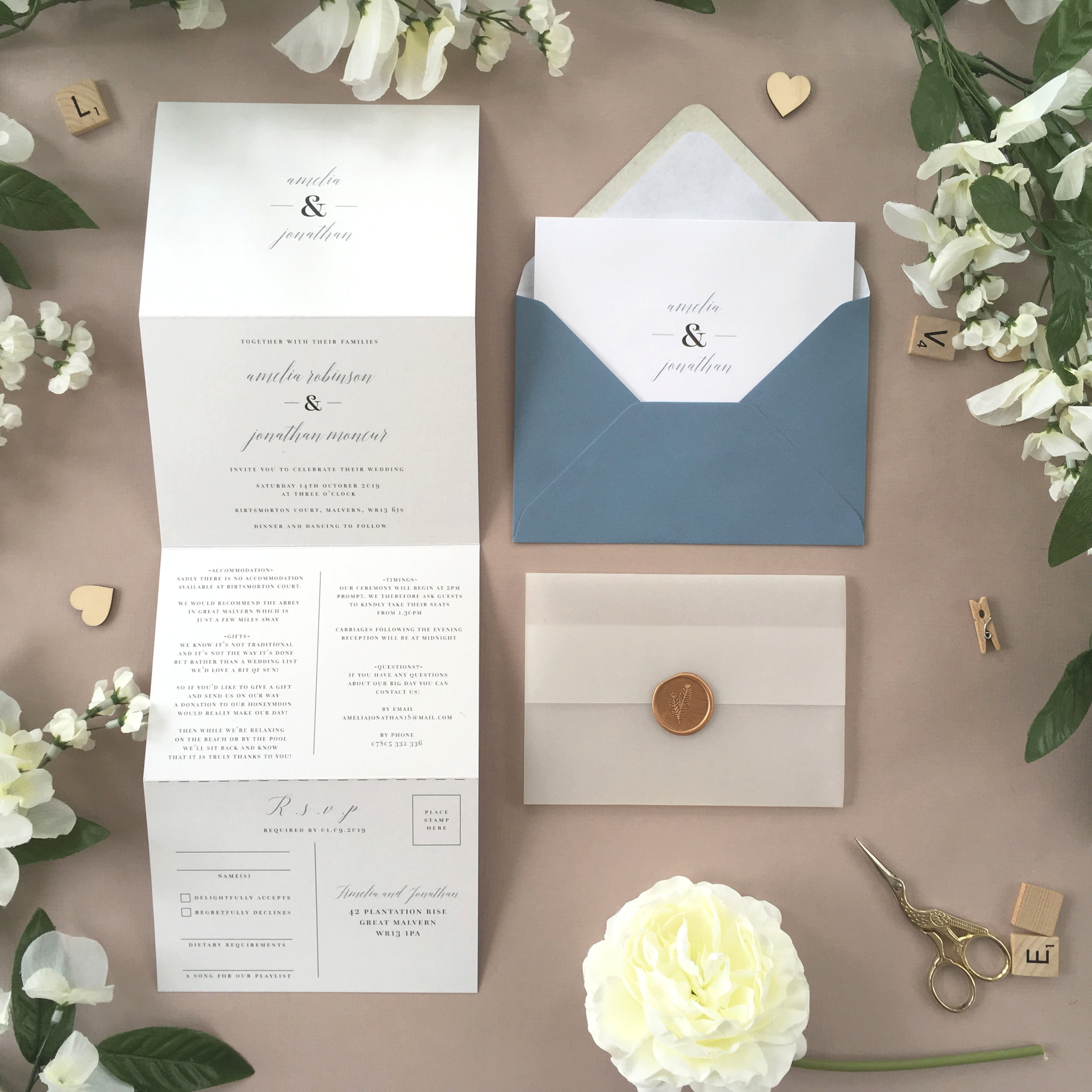 Westminster - Classically-styled and shown pictured in a muted blue colour scheme, this elegant concertina invitation comes from our Westminster collection.Our concertina invitations are a great all-in-one solution, with a detachable RSVP at the bottom of the invitation - all guests need to do is fill in their details, put a stamp in the corner and post!Concertina invitations can be provided on an as-is basis, or can be provided bound with a vellum jacket and timeless wax seal, or tied with ribbon or twine for a lovely hand-finished approach.- Concertina Invitation - from £1.95- Ribbon or Twine - £0.40- Vellum Jacket - £0.40- Wax Seal - £0.85 (Custom engraving also available)White envelope provided as standard with coloured upgrade available.