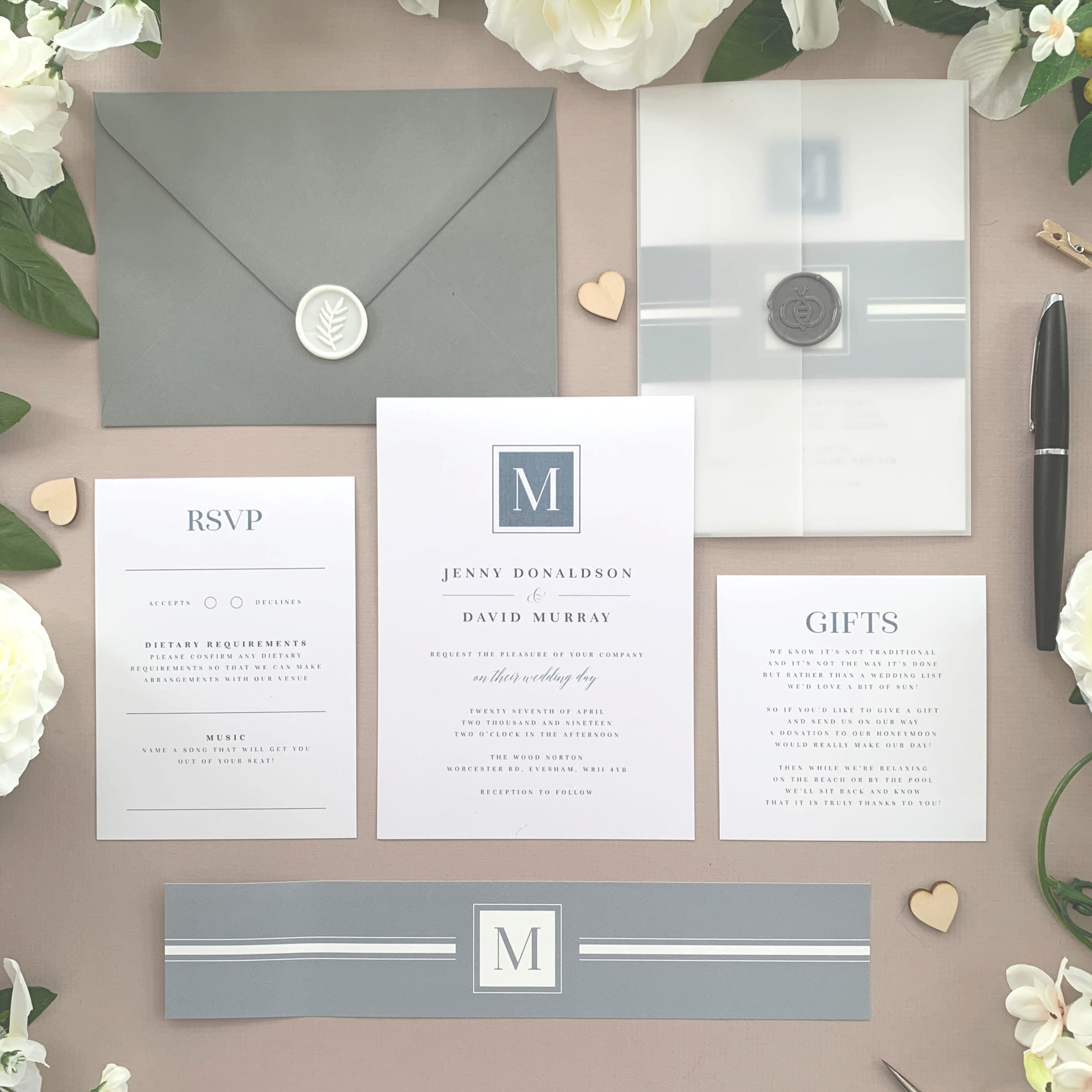 Aldgate - Our Aldgate collection features a classical and slightly formal styling, shown here in a muted blue / grey scheme but with a huge number of colours to combine to match your own style.The classic invitation suite is our most popular configuration and hugely versatile. If you don't have much to say or want to keep things simple you can even just order the invitation card on its own, which is an ideal option for evening guests.Most couples opt for a suite of items for day guests which can then be bound, with a choice of a paper belly band, vellum jacket, sticker or wax seal to keep multiple cards beautifully neat and together.Coloured envelopes are available, in addition to printing of guest names and envelopes to make the process even easier.