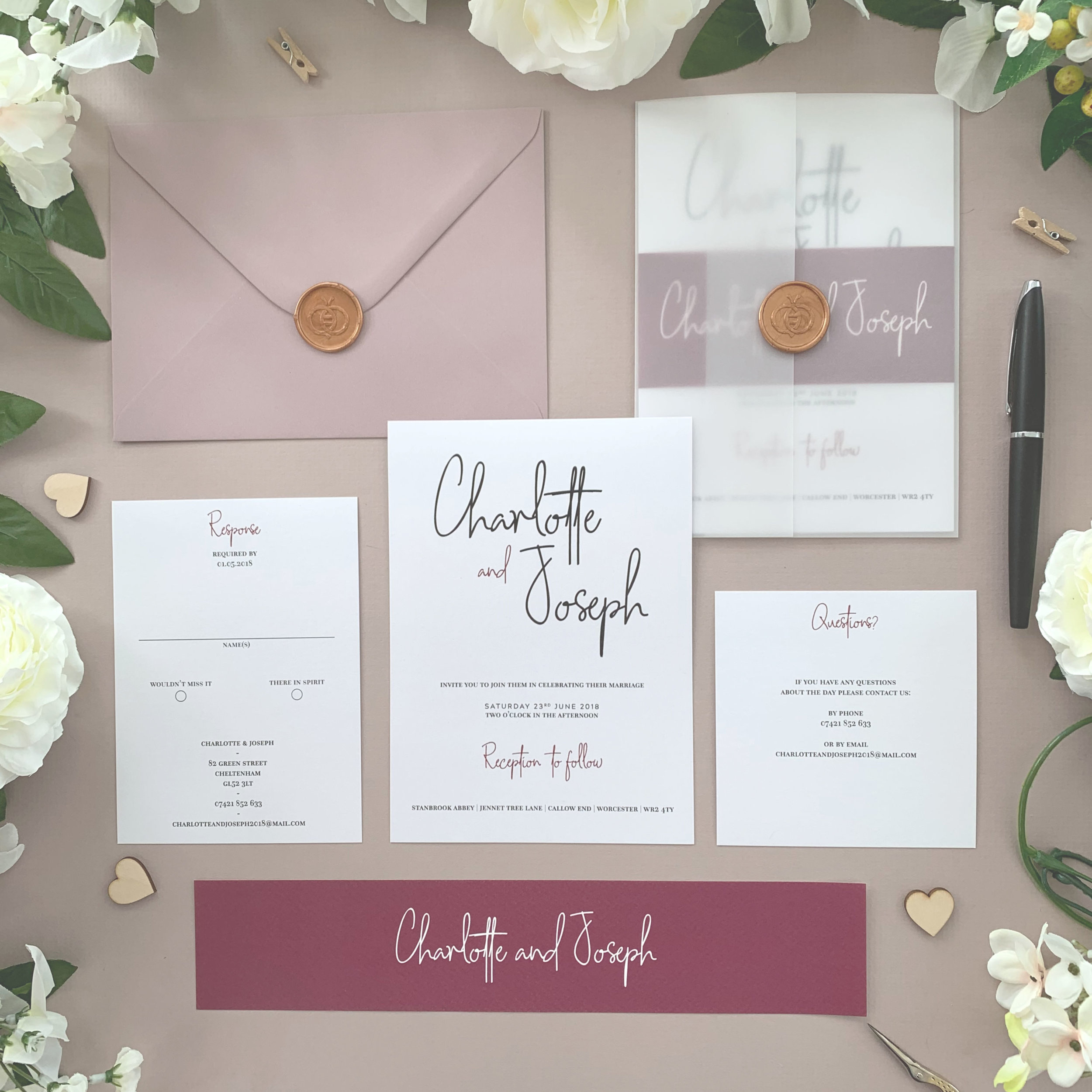Chancery Lane - One of our most popular classic invitation suites, our Chancery Lane collection is simple and modern, using lovely handwritten typography and equally suited to both muted and colourful schemes.The classic invitation suite is our most popular configuration and hugely versatile. If you don't have much to say or want to keep things simple you can even just order the invitation card on its own, which is an ideal option for evening guests.Most couples opt for a suite of items for day guests which can then be bound, with a choice of a paper belly band, vellum jacket, sticker or wax seal to keep multiple cards beautifully neat and together.Coloured envelopes are available, in addition to printing of guest names and envelopes to make the process even easier.