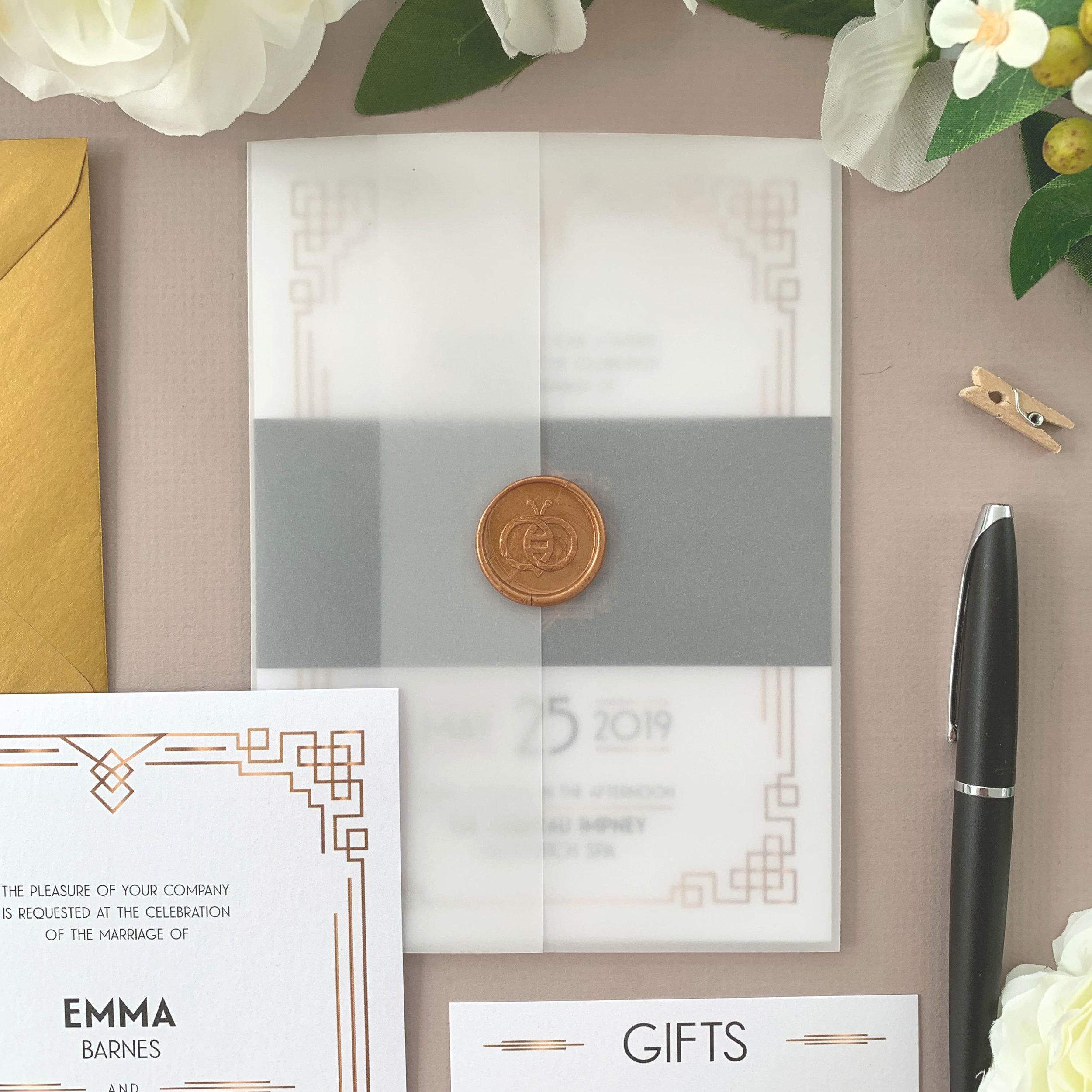 Finishing Options - If opting for a suite of items (invite, RSVP and information cards), these can be bound in a number of ways.You can add a paper belly band, or add a vellum jacket too with the option of a personalised sticker or self-adhesive wax seal to close the package.Invitations can either be provided with the loose components ready for you to assemble, or opt for us to assemble to save on time.