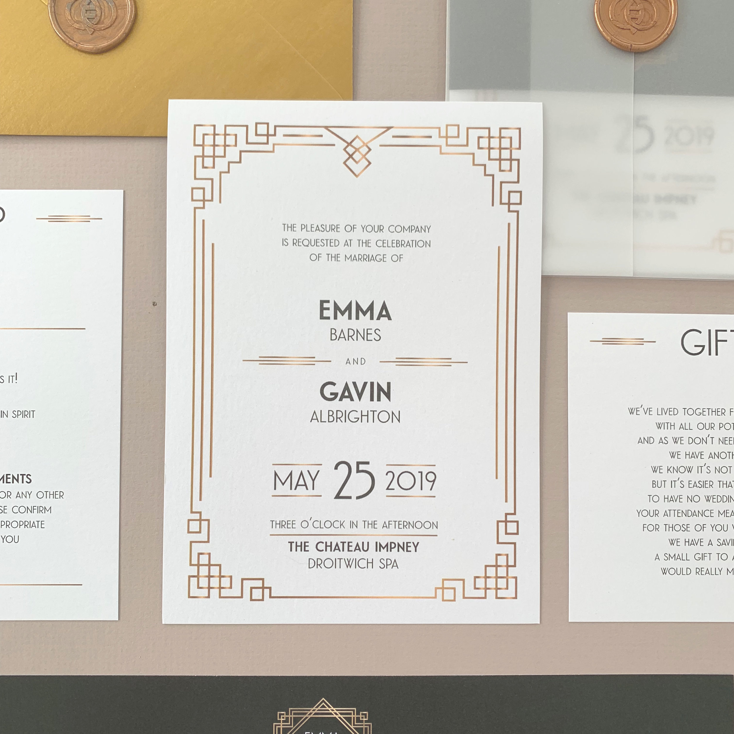 Pricing - CardsDay or Evening Invitation Card with Envelope @ £1.25RSVP Card with Envelope @ £0.50Information Card @ £0.40 (Large), £0.30 (Small)—————————————————————Finishing OptionsPaper Belly Band @ £0.65Vellum Jacket @ £0.40Wax Seal or Personalised Foiled Sticker @ £0.85—————————————————————UpgradesColoured Envelope Upgrade @ £0.20Engraving of monogram wax stamp @ £45.00Guest Name Printing @ £0.25RSVP Envelope Addressing @ £0.20Invitation Envelope Addressing @ £0.50Assembly Service @ £25.00 per order