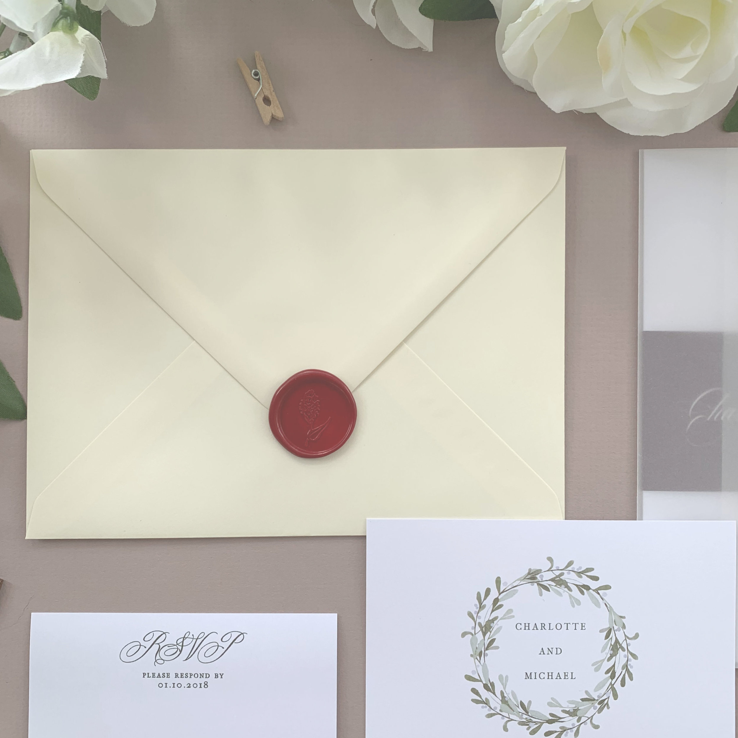 Envelopes - The envelope will be the first thing your guests will ever see of your wedding day.As standard all invitations come with a high-quality white or kraft envelope as standard. You can upgrade to a coloured envelope with a number of different shades available.We can also print your details on your RSVP envelope, or print each of your invitation envelopes with your guest names and addresses saving you from having to write them by hand.