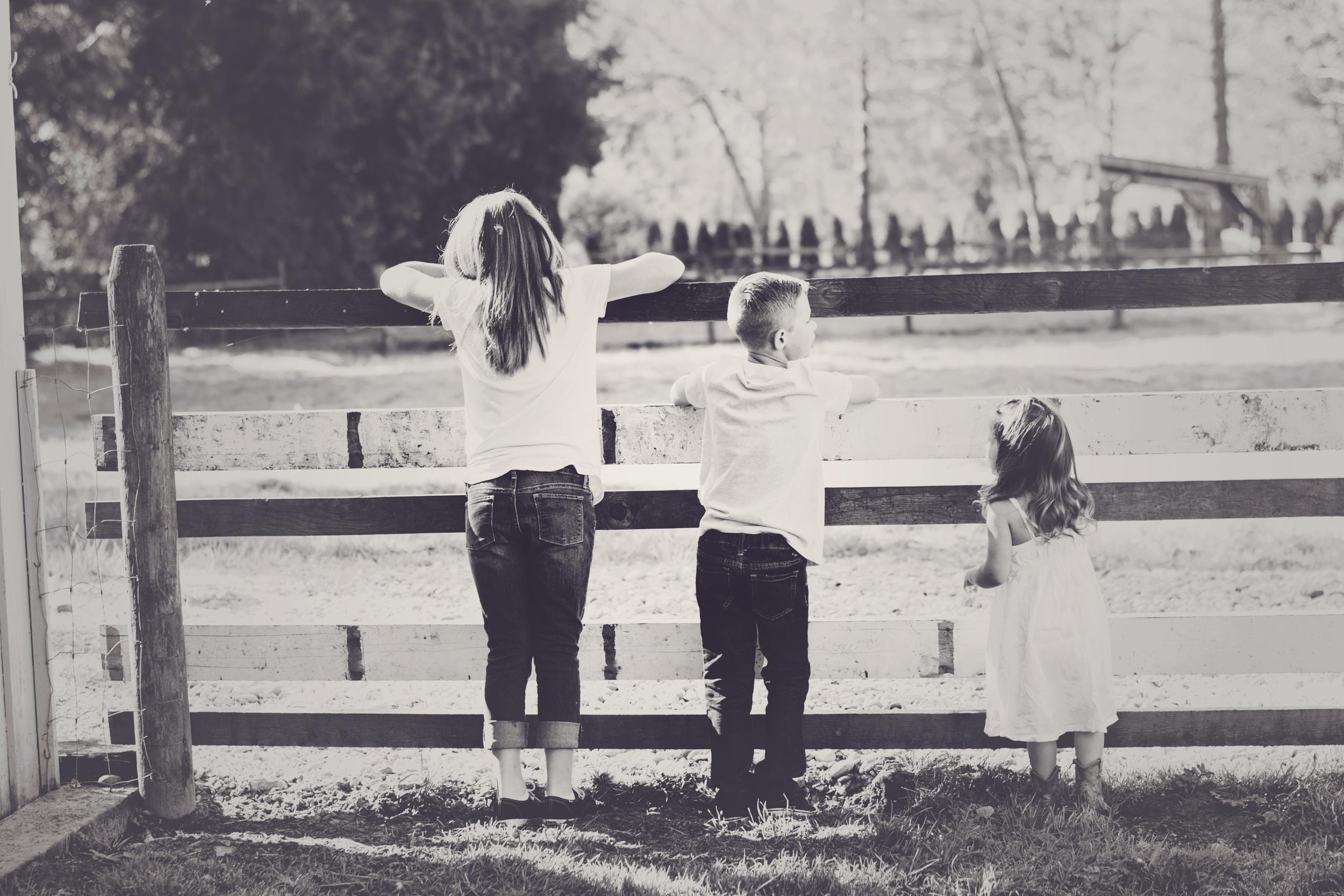 Siblings on the farm