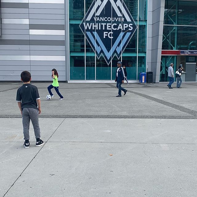 Whitecaps game and these kids of course had a blast being benchwarmers and scoring a signed ball from one of the players.
