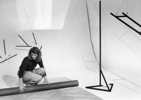 Barbara Kasten in her studio