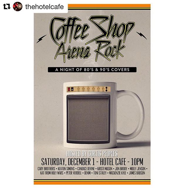 #coffeeshoparenarock Tonight @thehotelcafe ! Come hang with a bunch of great singers and the house band featuring @curtispeoples @darlahawn @stanislausloken @t_whales & myself! 10PM.  #Repost @thehotelcafe with @get_repost ・・・ We're looking forward to Coffee Shop Arena Rock tonight, featuring Cary Brothers, Keaton Simons, Curtis Peoples, Candace Devine and more! Grab your tickets in advance at hotelcafe.com 🎶