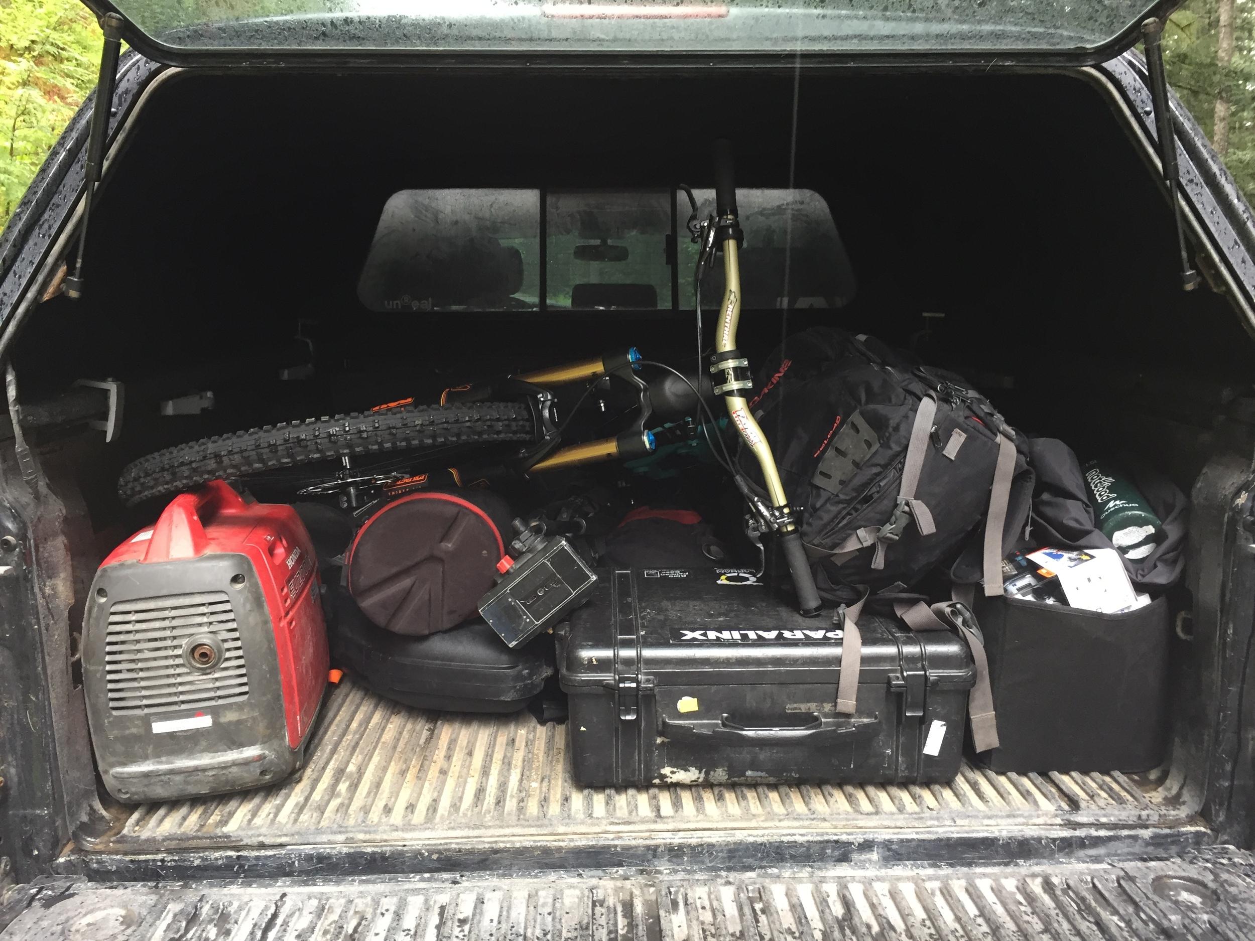 Truck full of gear.