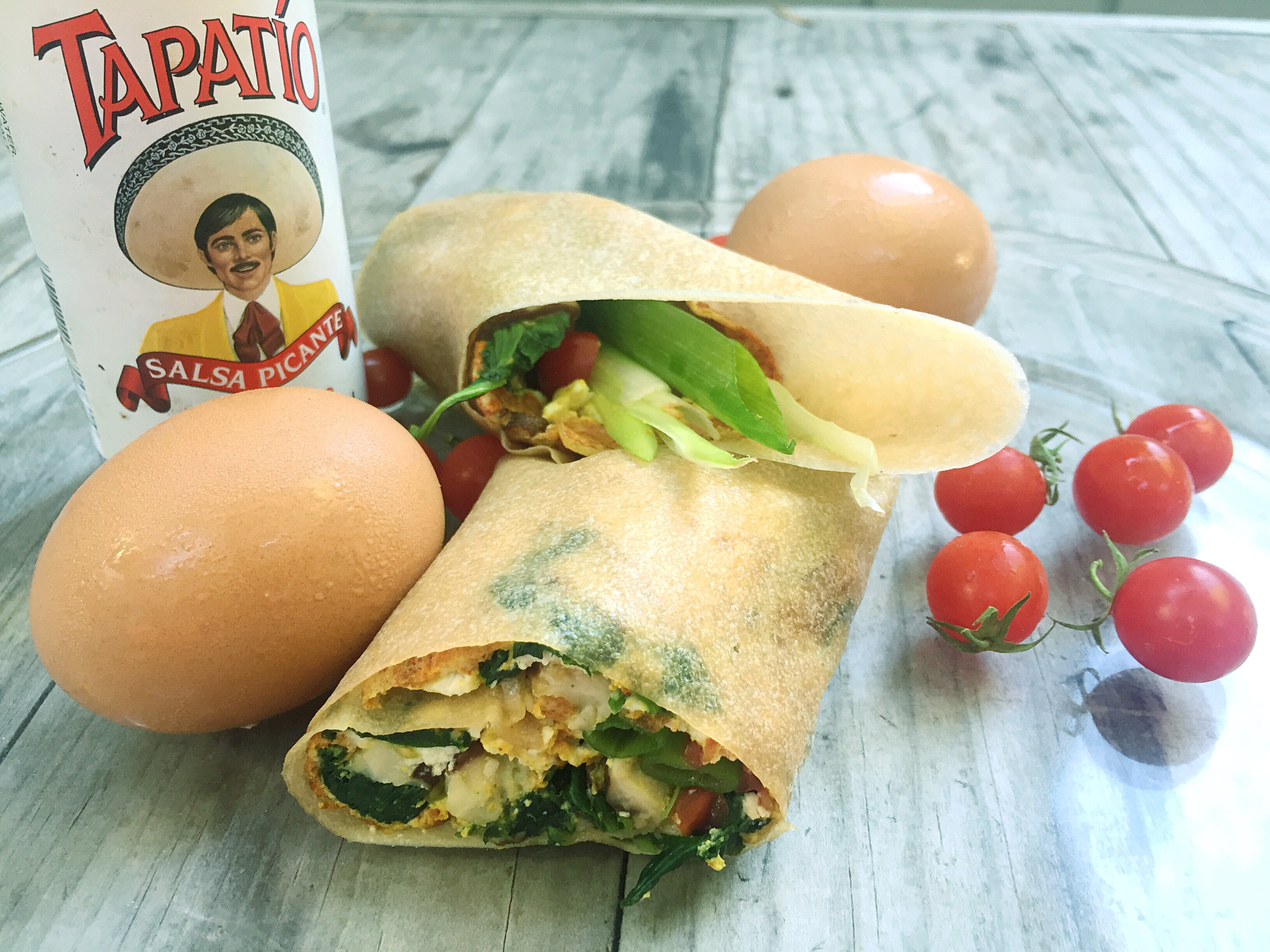 Breakfast! Coconut paleo wrapper with morning grub accoutrement.