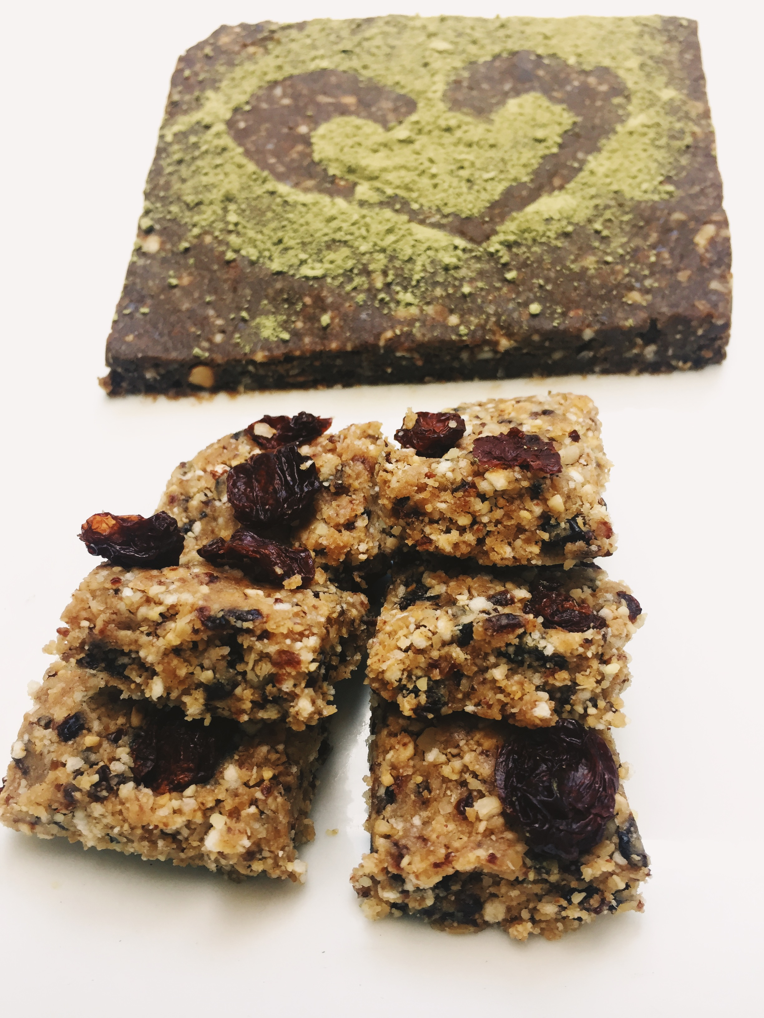 Cherry Oat Energy Bites/ In the background is my  Matcha Chocolate Date Bar