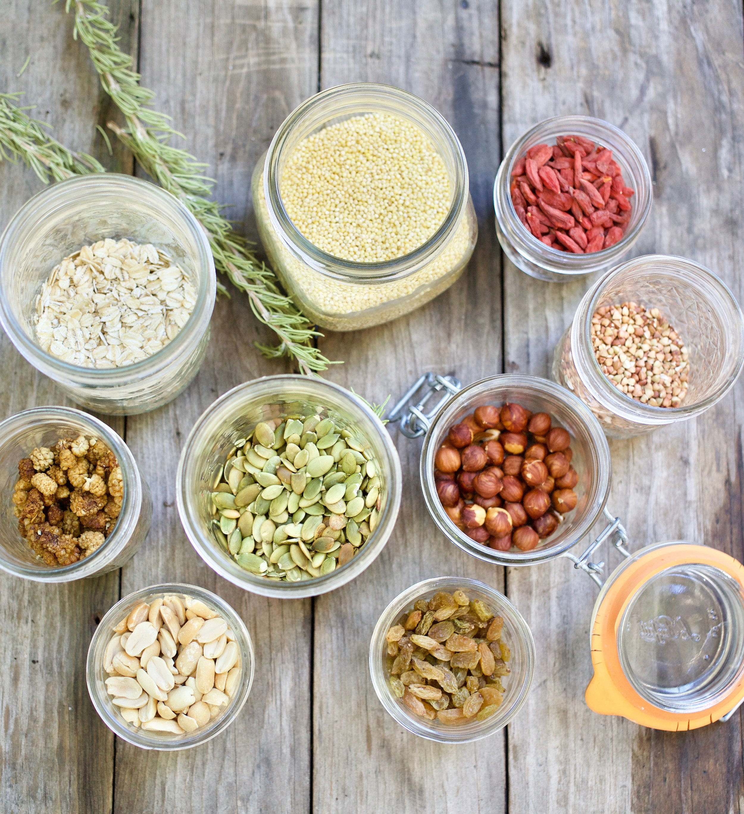 Store nuts, dried fruits, and spices in pretty mason jars, but remember to be mindful of what area of your kitchen will protect the nutritional value.