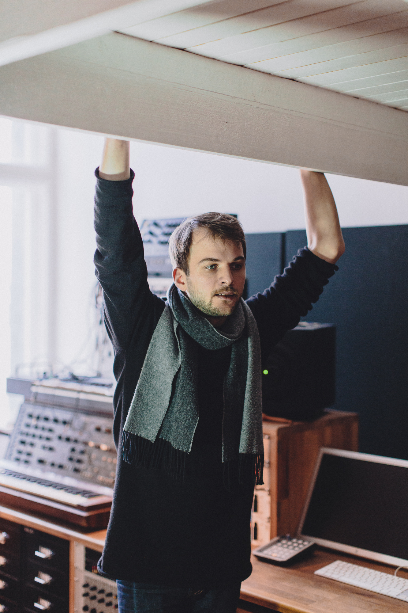 Composer Nils Frahm in his production studio in Berlin.