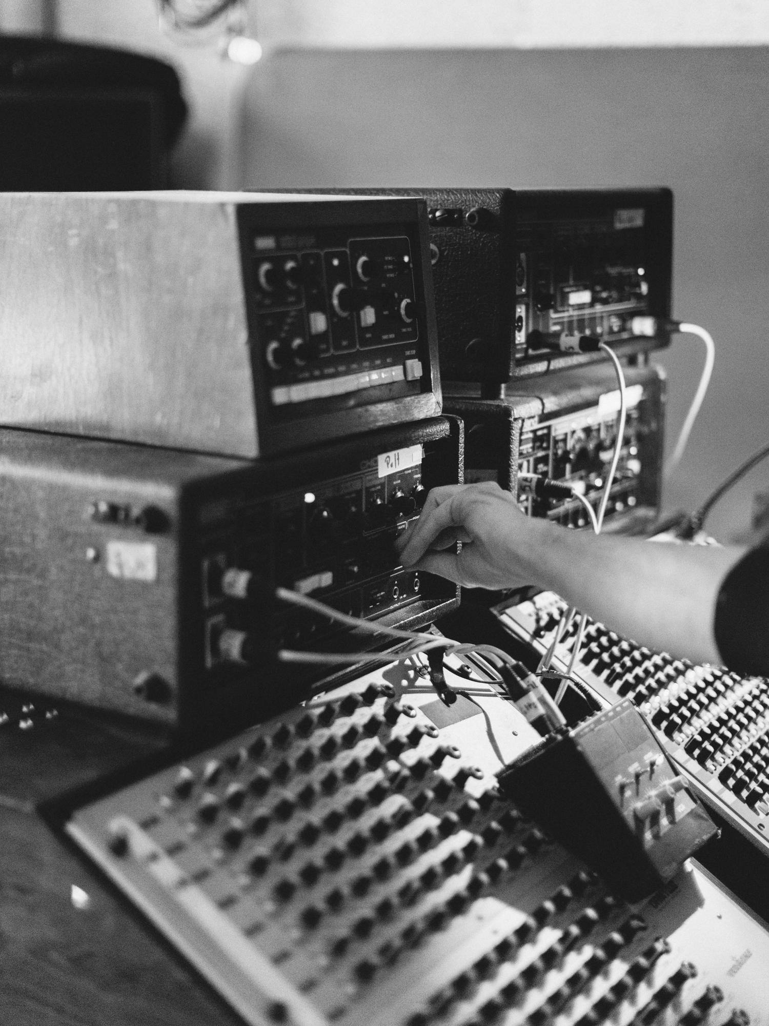 Composer Nils Frahm in his rehearsal studio in Berlin.