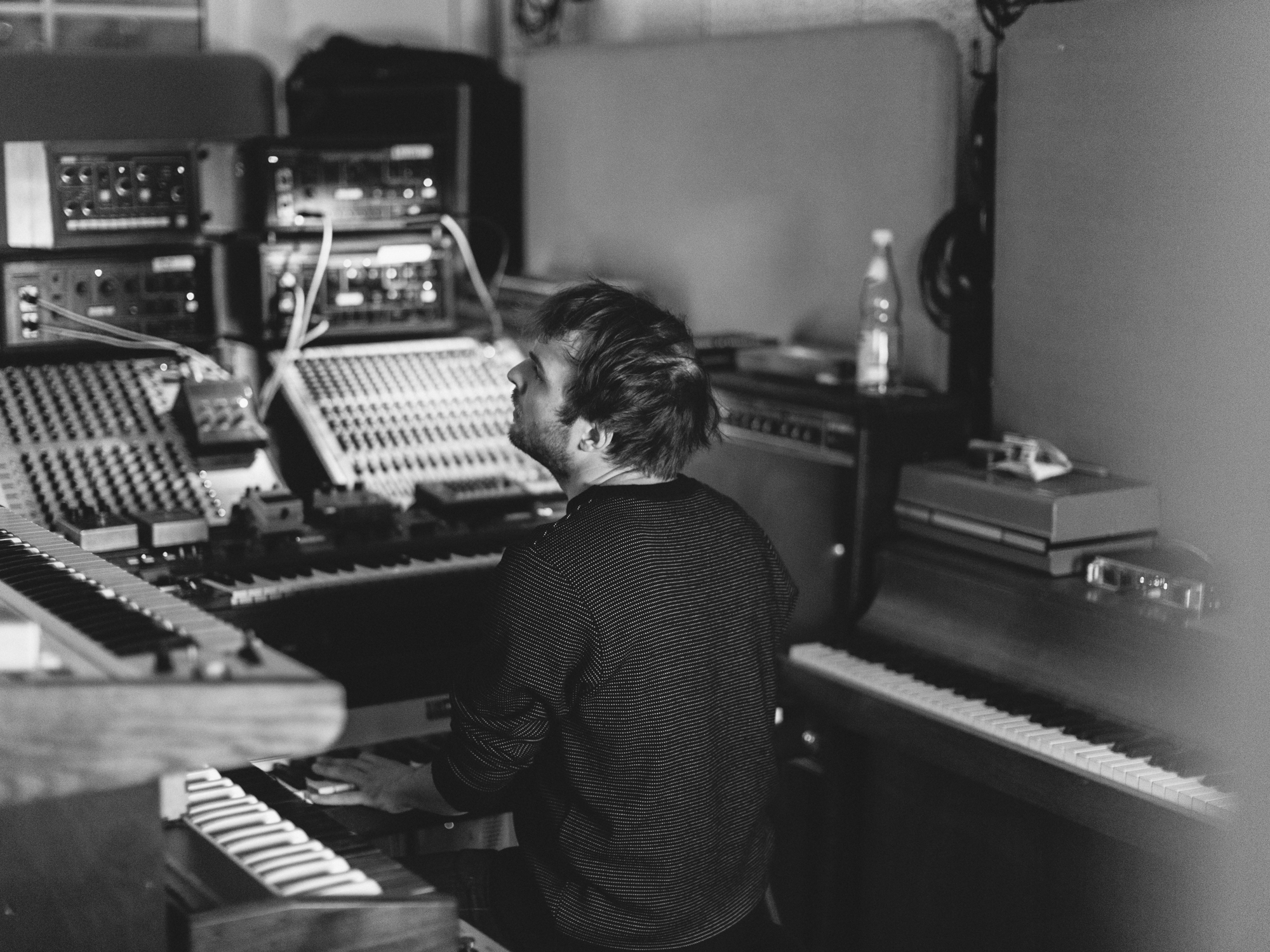 Composer Nils Frahm in his rehearsal studio in Berlin.