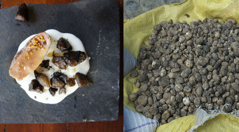 Left,An innovative dish using chuño from the world famed, Gustu. Right,chuño being sold at local market