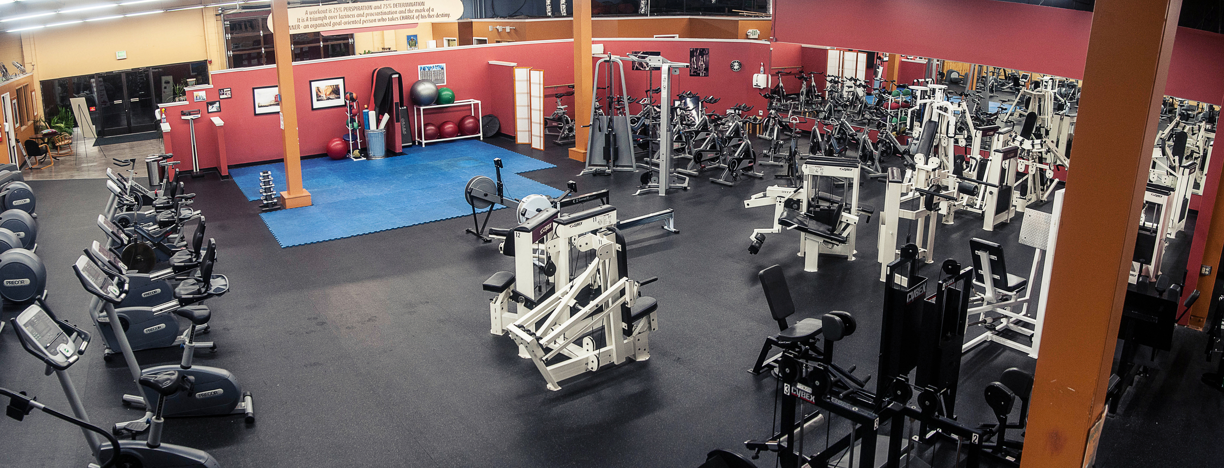 Cybex Circuit Training Machines + Stretching Area - Cybex Training AreaFunctional Trainer8 Upper Body Machines2 Core Machines9 Lower Body Machines2 RowersSpin Area with Brand New StarTrac Spin CyclesStretching AreaPadded FloorMedicine & Exercise BallsFoam RollersTheraBands