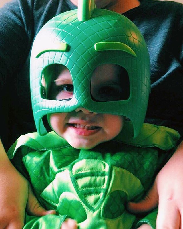 I learned PJ Masks aren't just PJ masks yesterday, but toddler superheroes, too 💥 So, I bought my first costume from Target 🤷🏼♂️ It totally fit Carson better than me, though 🦎 #iphonex