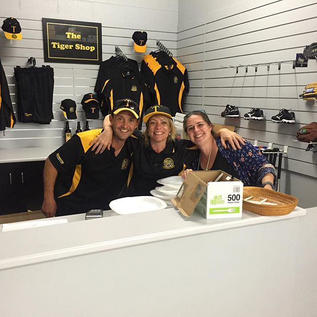 The friendly staff in the Merchandise room