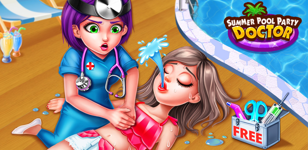 Summer Pool Party Doctor  To save bikini girls' lives, you need to use defibrillator bring them back to life, repair their broken bones, and take control over 50 professional medical tools.