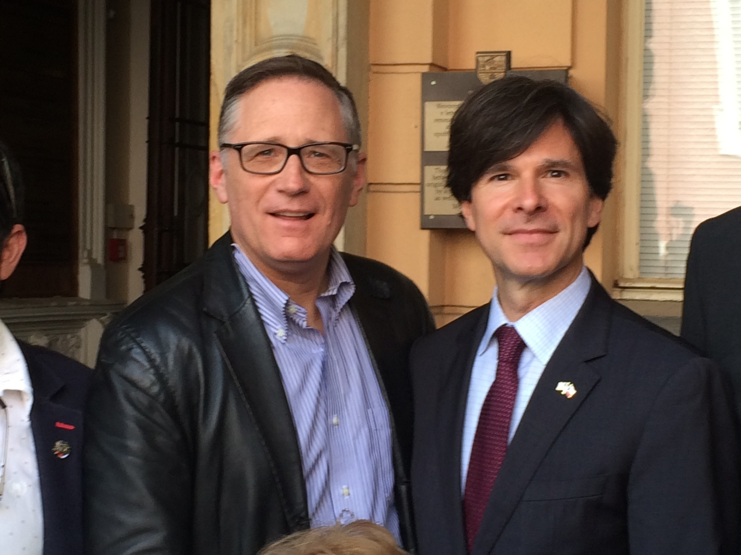 Patrick Dewane with US Ambassador to the Czech Republic, Andrew Schapiro at the 2015 Domazlice, Czech Republic liberation celebration.
