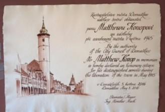 Proclamation: Matt Konop an honorary citizen of Domazlice, Czech Republic