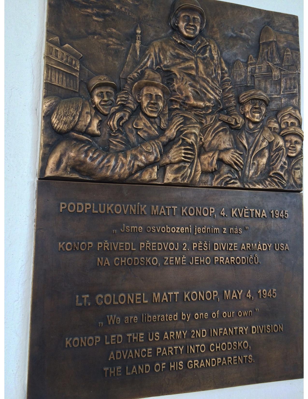 Bronze plaque in Domazlice, Czech Republic Main Square
