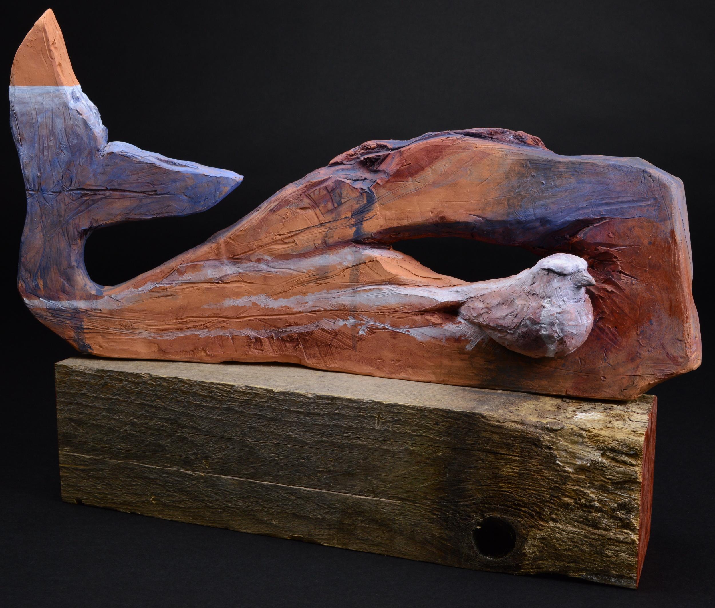 "Whale and Bird, #1. H: 12"" Terra Cotta , Wood, Wax, Paint."