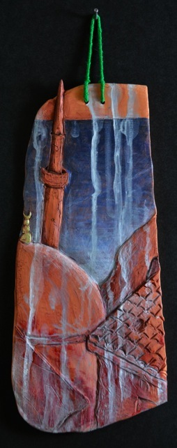 """Istanbul Tile. H: 11""""  Terra Cotta, Paint, String."""
