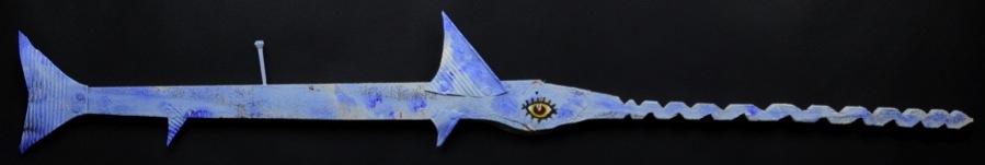 """Fish. L: 41""""  Wood, Tin Can, Nail, Paint."""