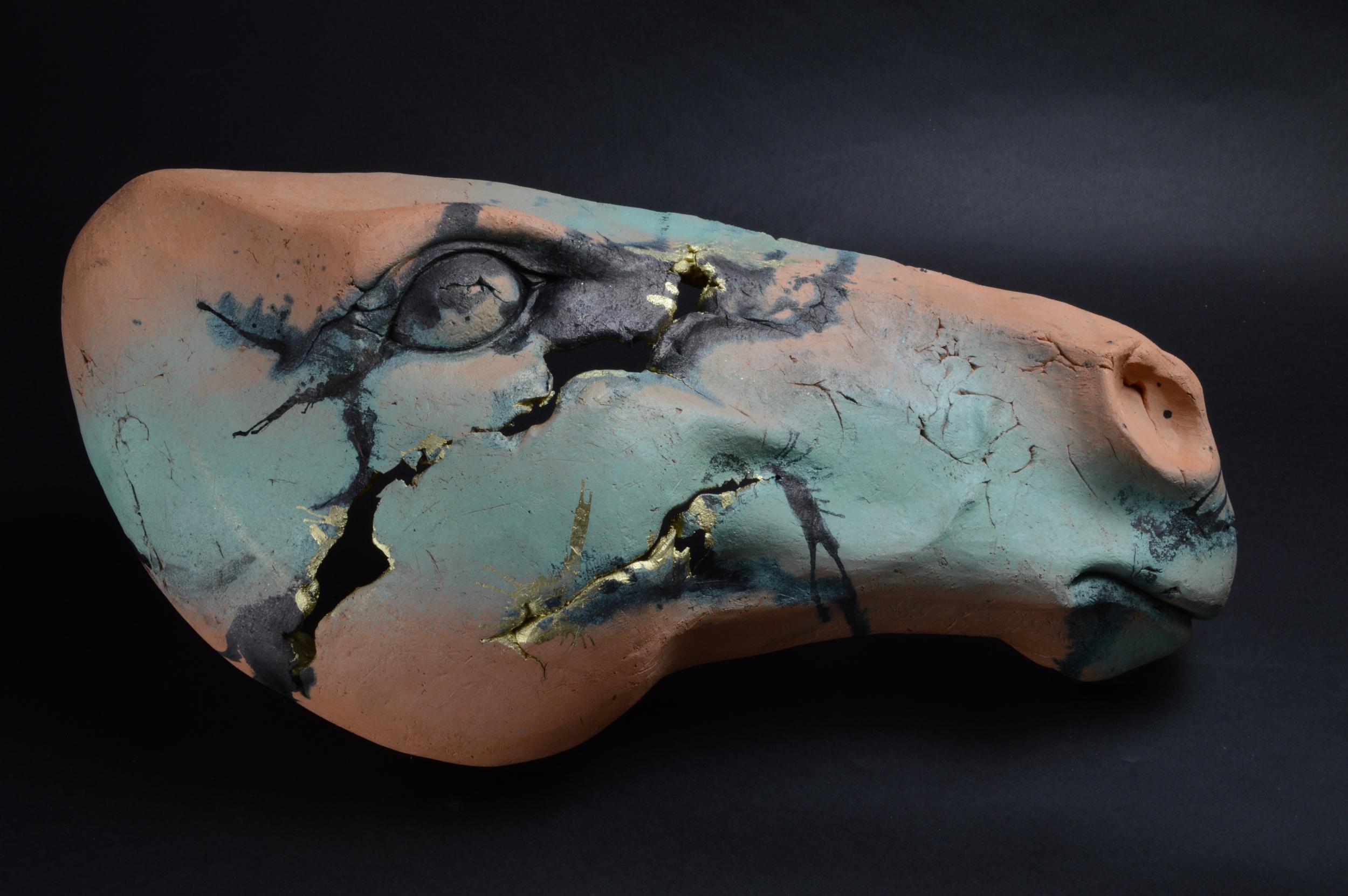 "Horse Head 6  . L: 21""  Terra Cotta,Paint."