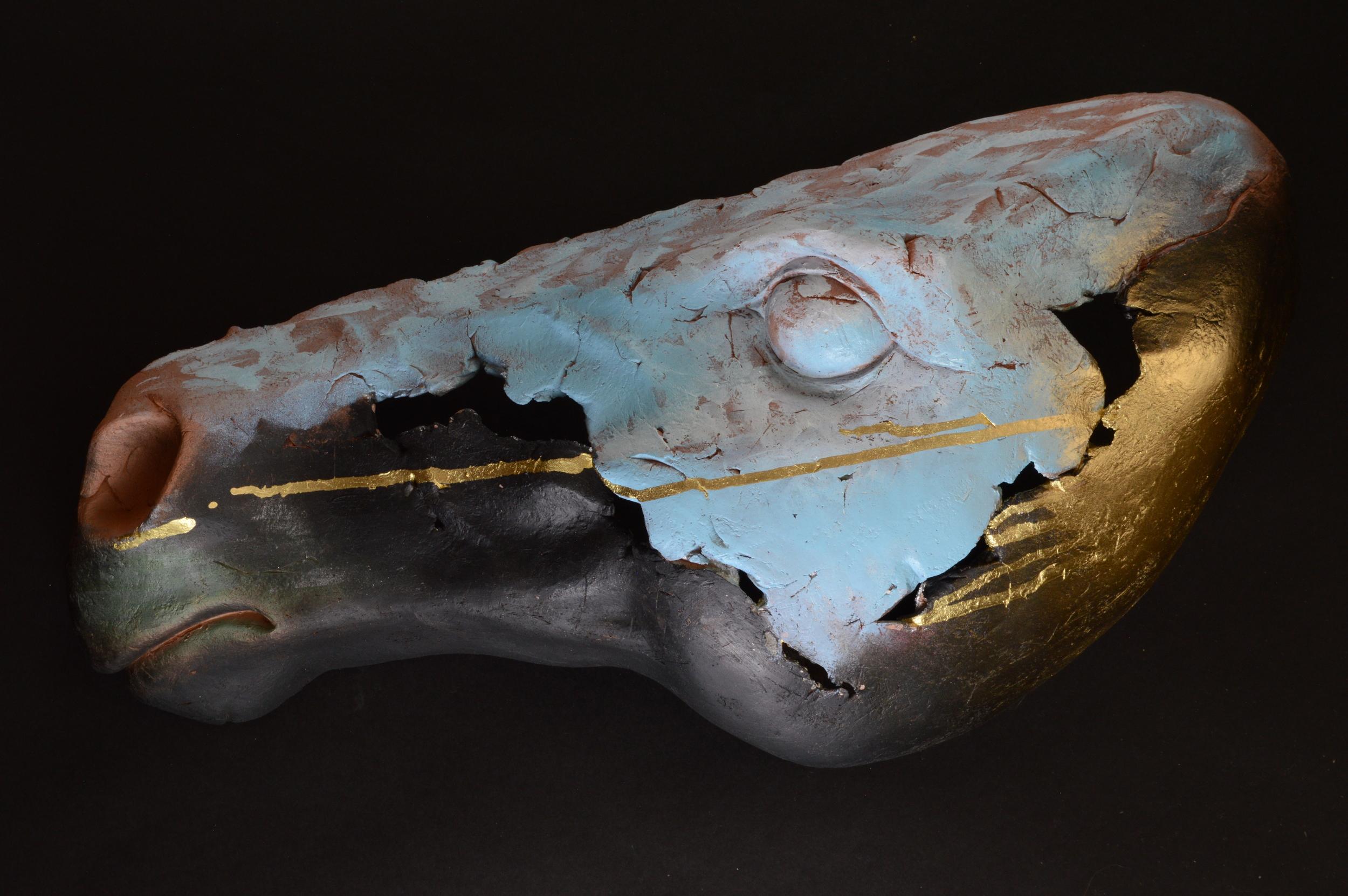 "Horse Head 12.  L: 21"" Terra Cotta, Paint  ."