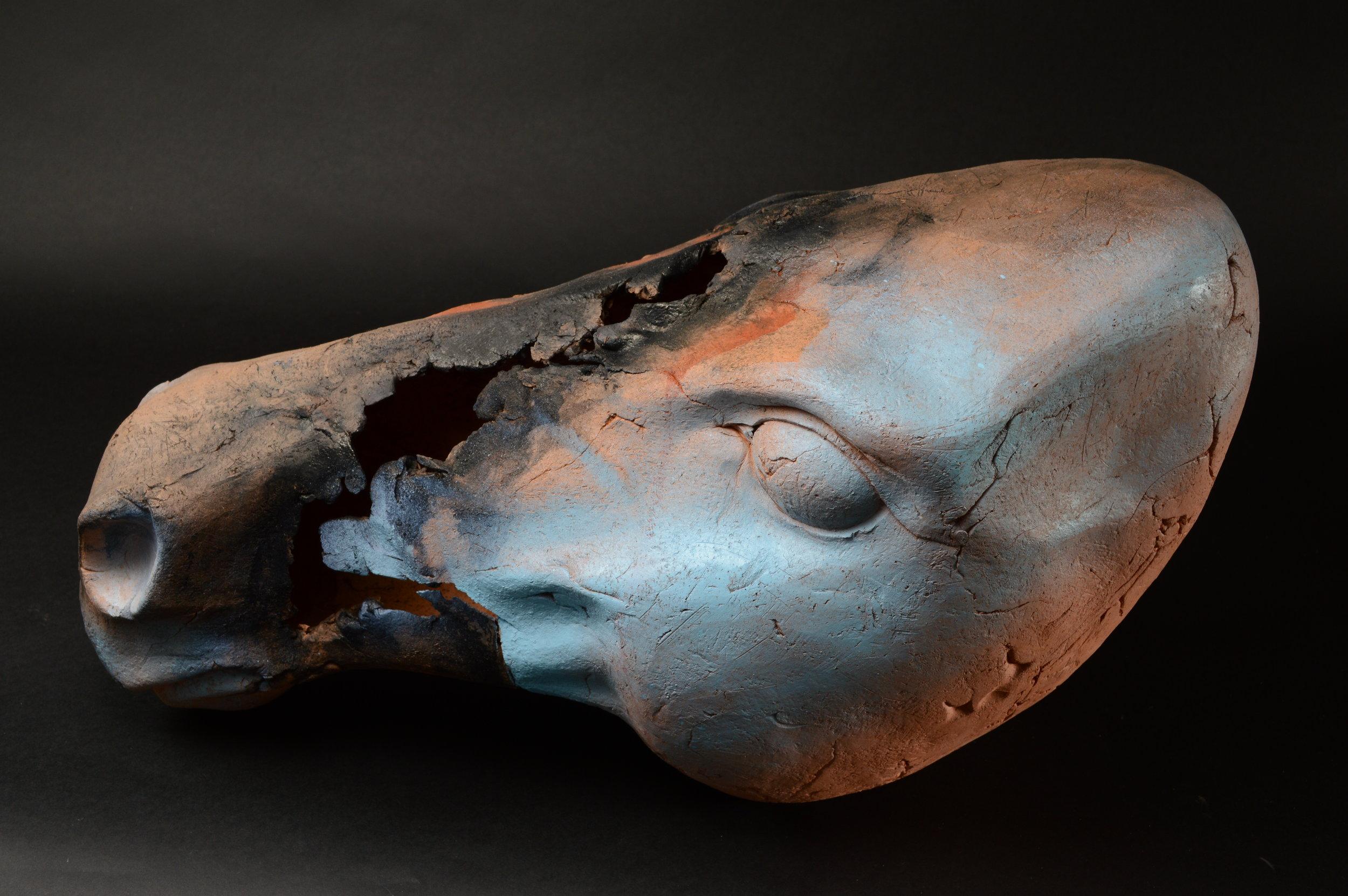 "Horse Head 7.  L: 21"" Terra Cotta, Paint  ."