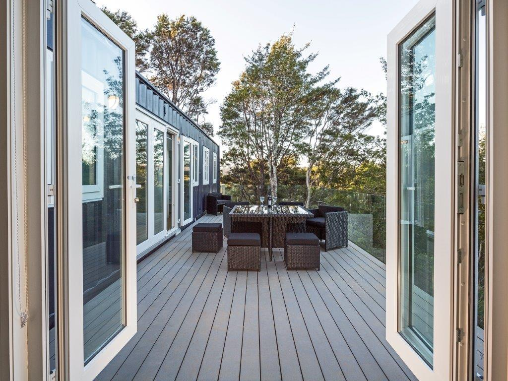IQ Container Homes 4    View of deck from inside 20' addon.jpg