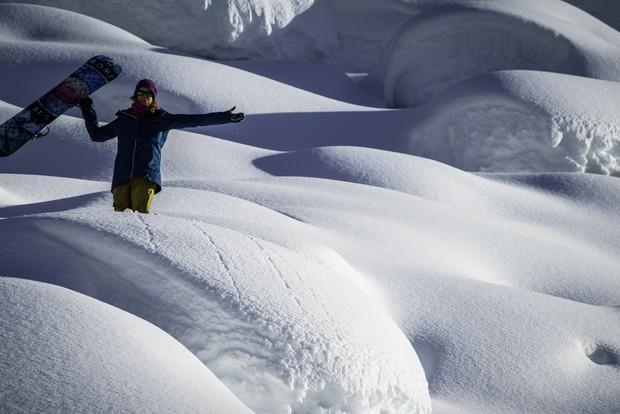 Pre-drop-in stoke.  Photo: Dom Gauthier / Oakley Snowboarding