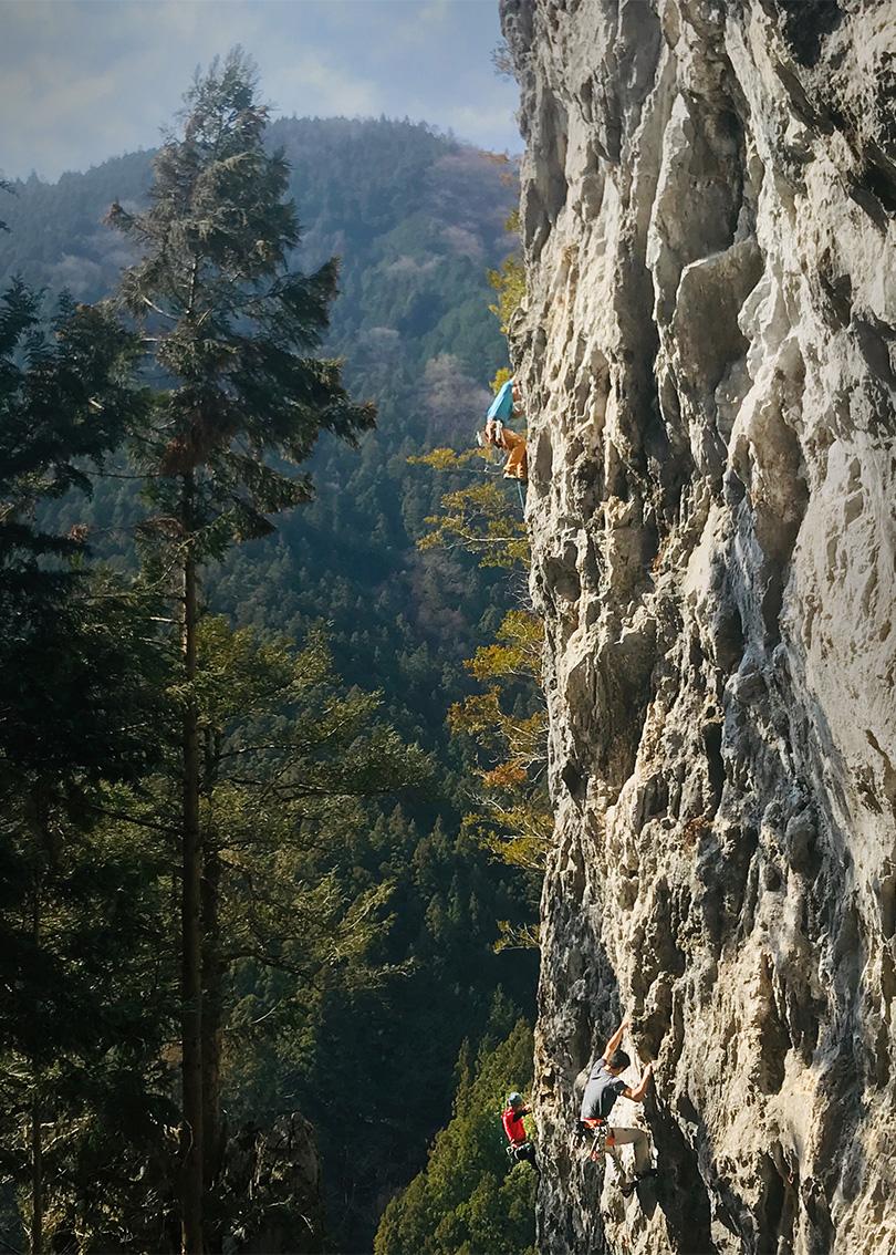 Rock Climbing Wal Mitake, Japan.l
