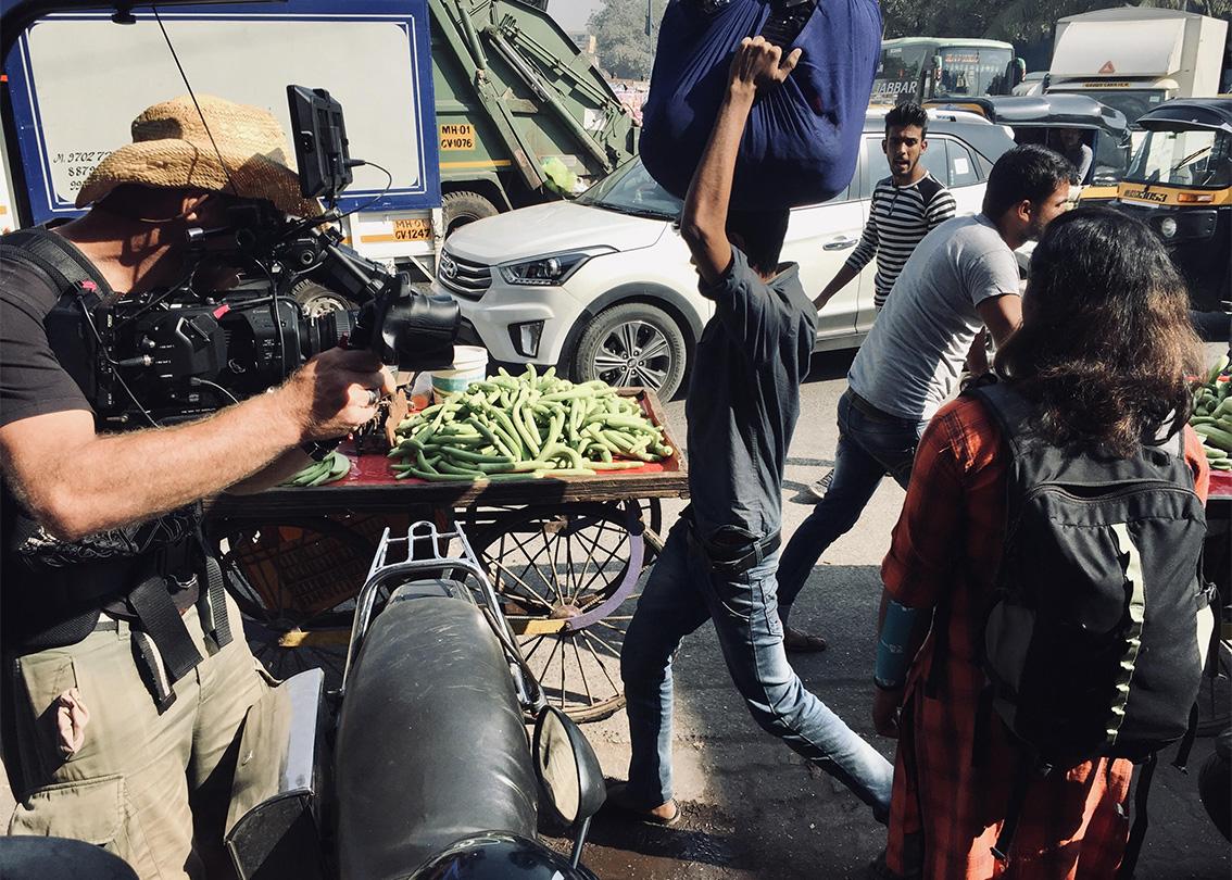 Filming with Sidi in downtown Mumbai.
