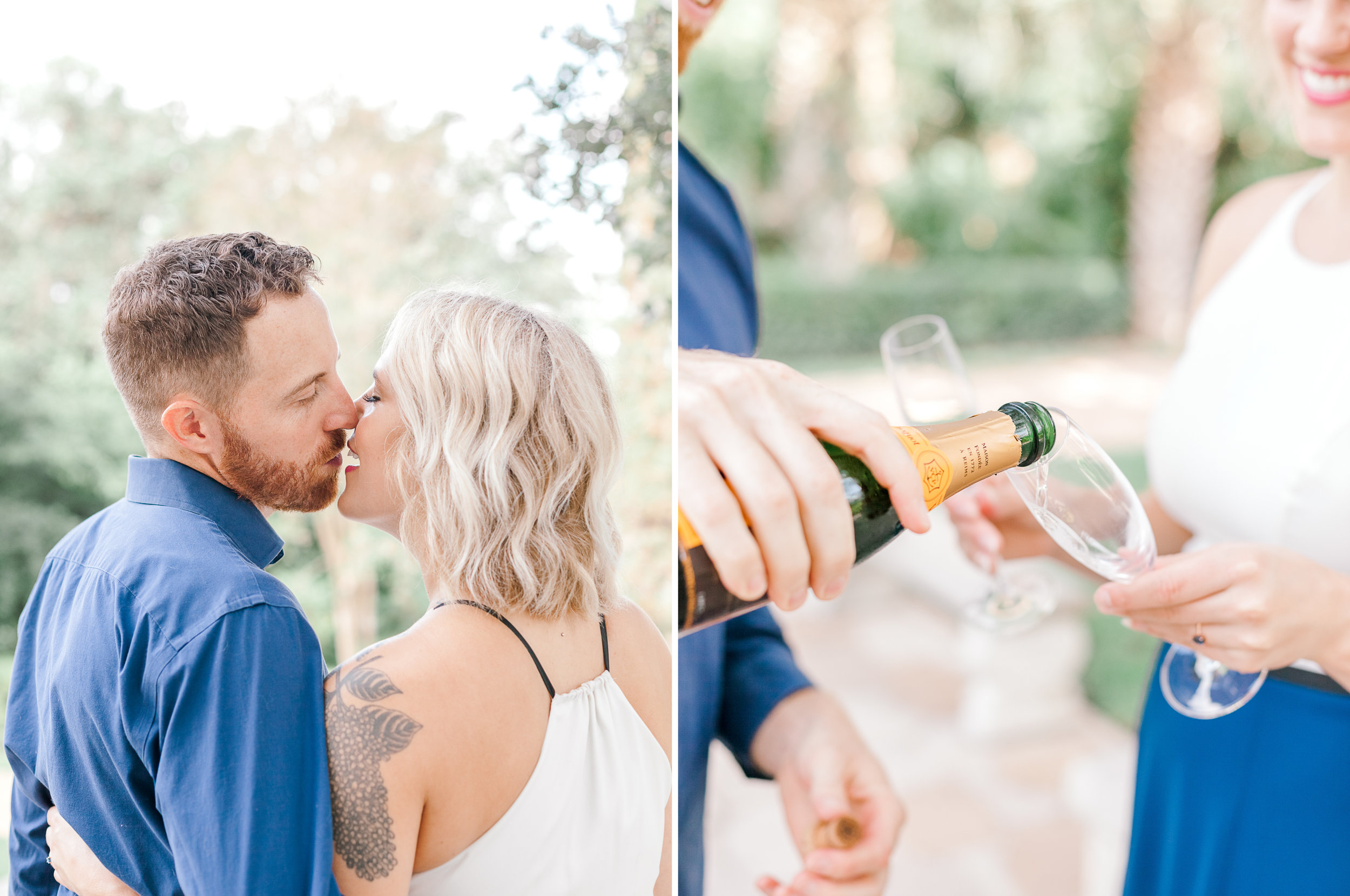 Engaged couple drinking champagne at Laguna Gloria