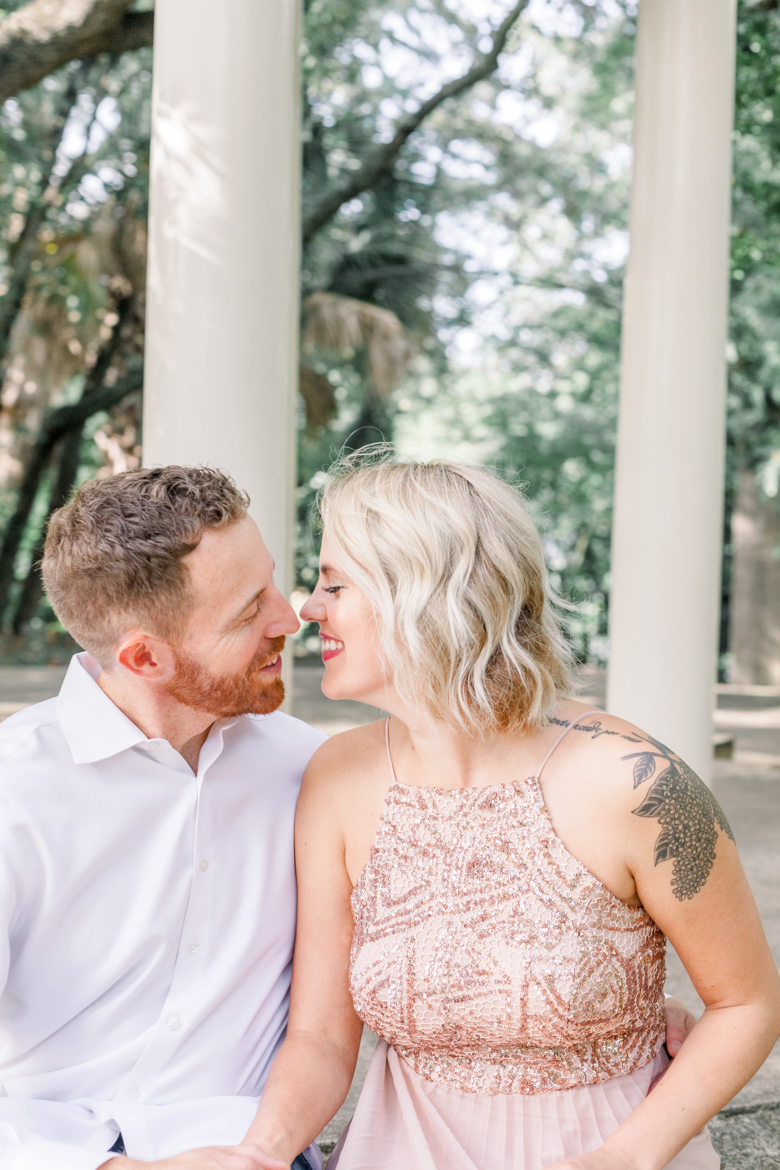 Engaged couple at Laguna Gloria in Austin, Texas