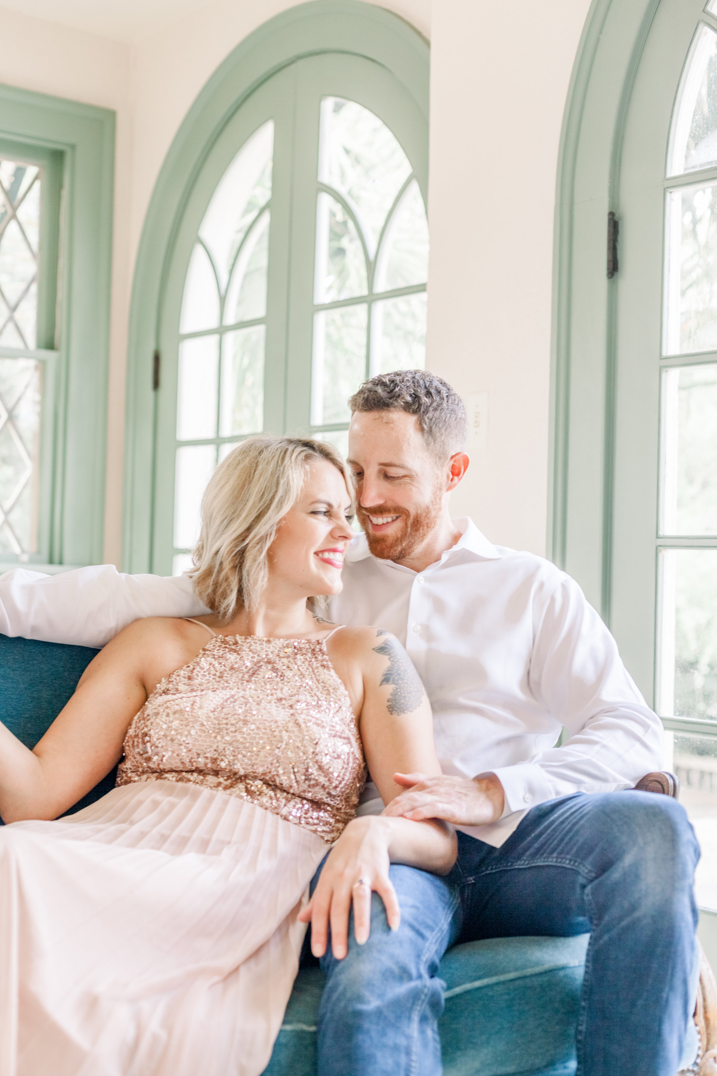 Engaged couple inside Driscoll Villa at Laguna Gloria in Austin, Texas