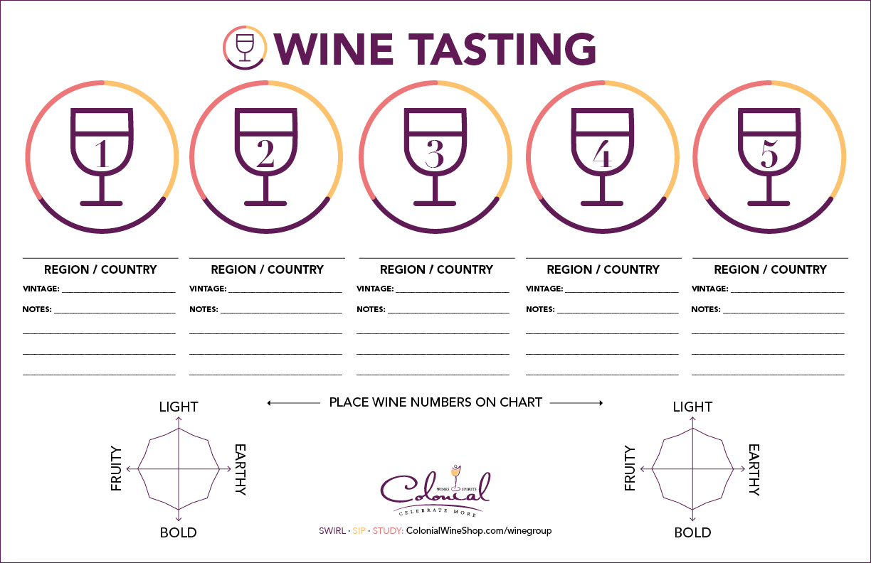 photograph relating to Wine Tasting Sheets Printable named Wine Neighborhood Colonial Wines Spirits