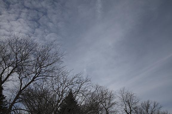 altocumulus (left) and Cirrus fall streaks, west, 12:30 p.m. cst