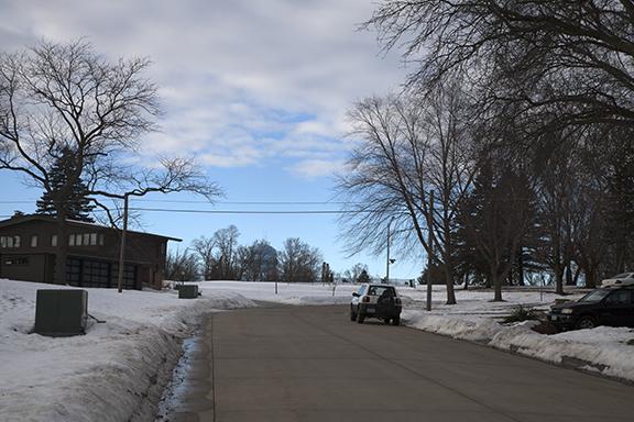 Looking north in Cedar Falls, Iowa at 4:00 p.m. CST. Clearing skies behind weak trough crossing Iowa.