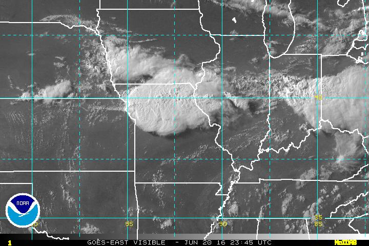 GOES Visible Satellite Image at 6:45 CDT