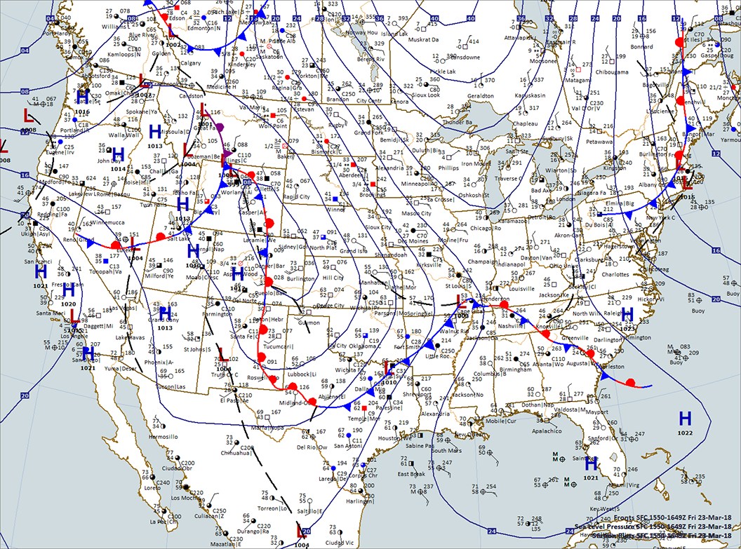 USA Surface Map: 11:00 a.m. CDT., March 23, 2018. Map plotted by Digital Atmosphere Software available at www.weathergraphics.com
